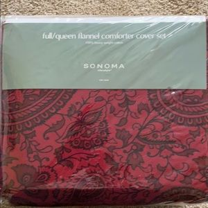 Sonoma full/queen flannel comforter cover set red